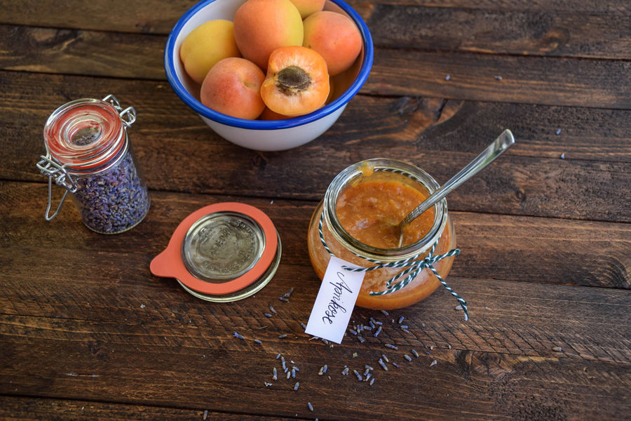apricot jam with lavender Table Cuisine Foodphotography Closeup Kitchen Foodblogger Berlin Cuisine Selfmade Organic Sweets Jelly Dates Jam Marmelade Aprikose Apricot