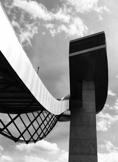 Bergisel Skijumping Tower by ZahaHadid Low Angle View Architecture Built Structure Tower Architectural Feature Monument Bergisel Skijumping Monochrome Photography Light And Shadow