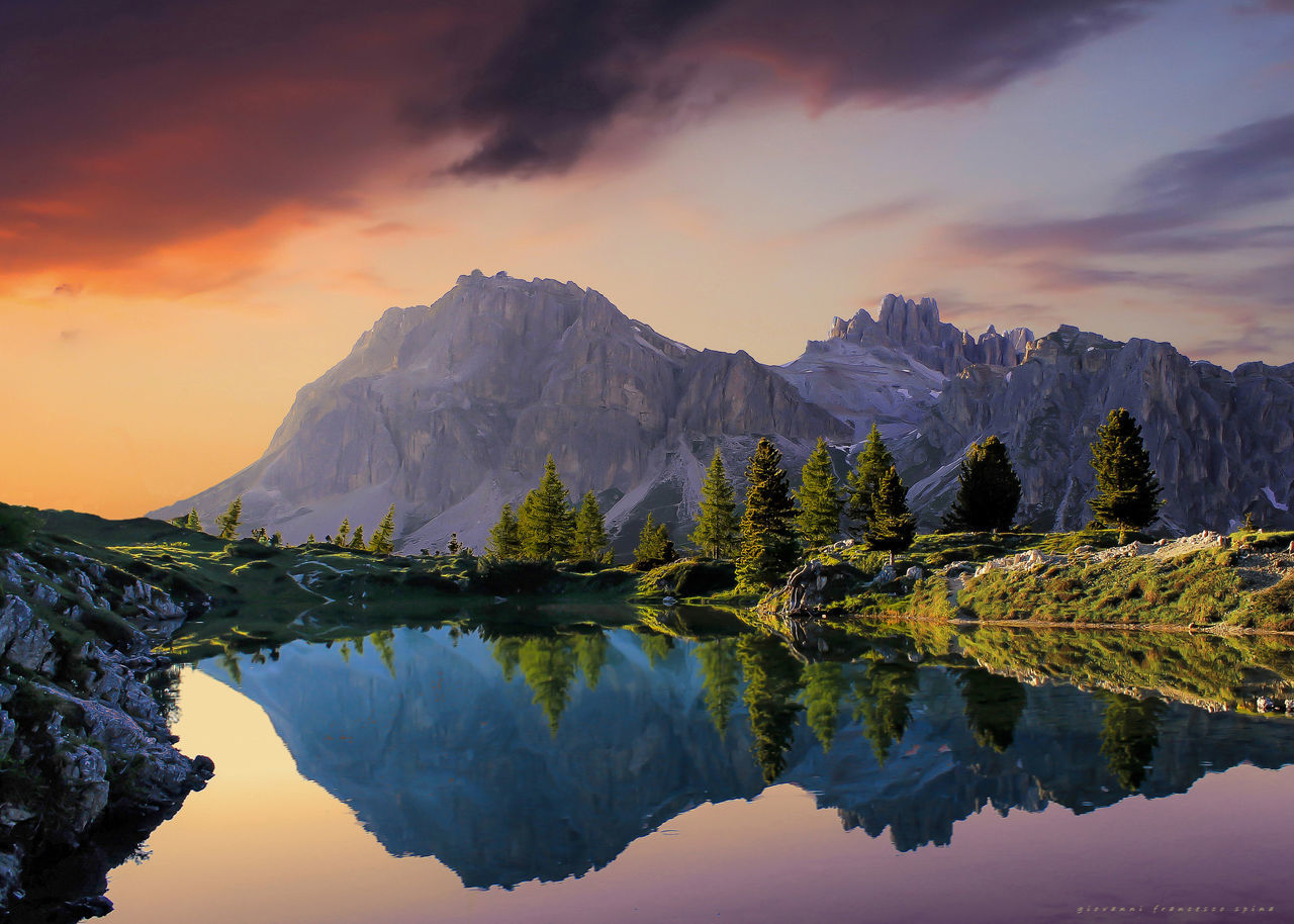 reflection, sky, water, mountain, scenics - nature, beauty in nature, sunset, cloud - sky, tranquility, tranquil scene, lake, waterfront, idyllic, mountain range, non-urban scene, nature, no people, symmetry, environment, snowcapped mountain, mountain peak, reflection lake