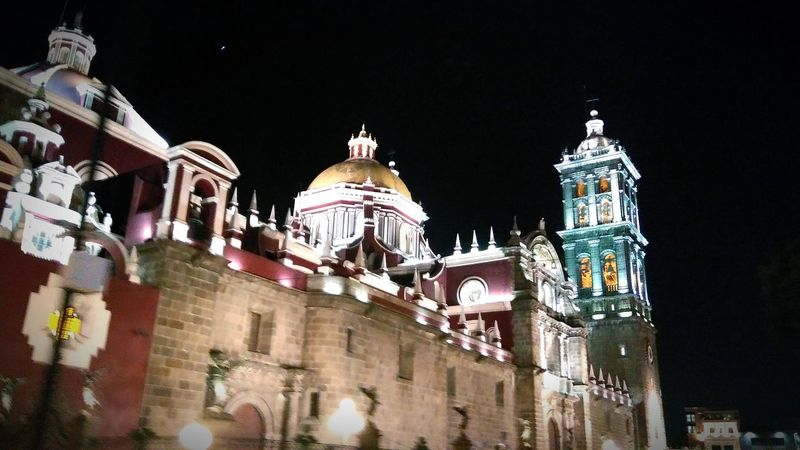Architecture Travel Destinations Sky City No People Built Structure Building Exterior Dome Illuminated Cityscape Outdoors Low Angle View Night Church City Architecture Puebla MX Urban Urban Landscape Nightlife