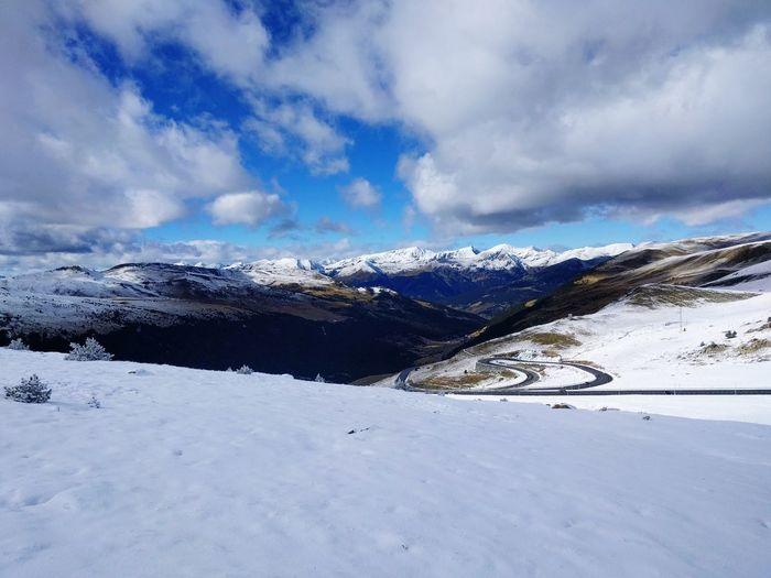 Snowboarding Mountain Snow Cold Temperature Winter Snowing Snowcapped Mountain Winter Sport Mountain Peak Sky