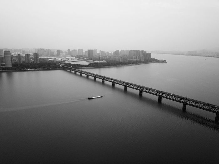 Boat B&w Blackandwhite Black And White Cityscape City River Qiantang River Hangzhou Bridge - Man Made Structure Water Nautical Vessel City High Angle View Sky Architecture Building Exterior Built Structure