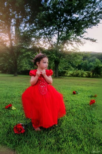 Beauty In Nature Beautiful People Little Girls Colors Summertime Visual Creativity Afternoon Sun Little Girl Tree Child Beauty Evening Gown Portrait Red Flower Girls Childhood Flower Head Tiara Crown Princess Hairstyle Ballet Dancer Tutu Royalty