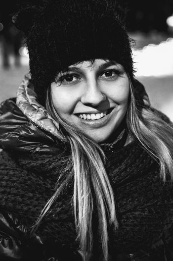 cozy smile Only Women Smiling Headshot One Person Monochrome Warm Clothing Beautiful Woman Women Real People Portrait Winter Light And Shadow Winter Knit Hat Park Sokolniki Face