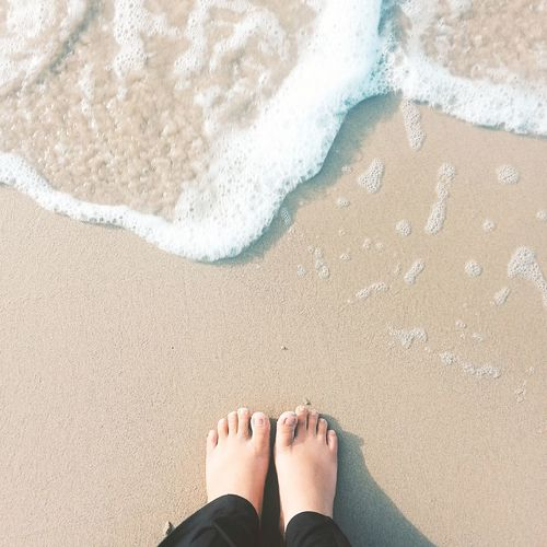 Scenics Beach Sand Human Leg Low Section Human Foot Barefoot One Person High Angle View Personal Perspective Standing Outdoors Summer Vacations Water Day Sea Lifestyles Nature Horizon Over Water Vacations Sky Wave Tranquil Scene Blue EyeEmNewHere My Best Photo
