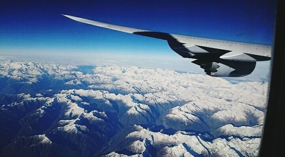 ✈ 🌍 Flying Airplane Aircraft Wing Aerial View Outdoors Landscape No People Sky Hello World Landscape_photography Mountain Alps AlpsMountain Alpessuisses Alpes Perfect Perfeito Wonderlust Dreams Come True