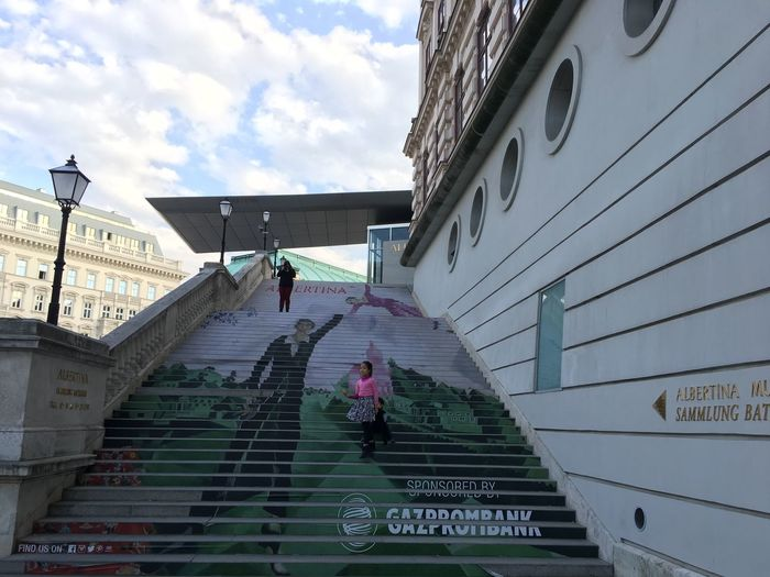 The stairs up to the Albertina art museum. Architecture Art Austria Building Exterior Built Structure City Low Angle View Men Museum Real People Stairs Street Photography Vienna Women