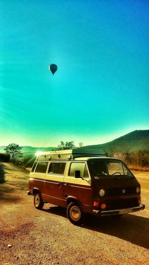 Someone i used to know. Volkswagen T25 Bus 1983. Transportation Mode Of Transport Blue Car Sky Sunlight Clear Sky Outdoors Volkswagen Van Hippie Hotairballoon Volkswagentransporter EyEmNewHere Beautiful Photooftheday Instagood