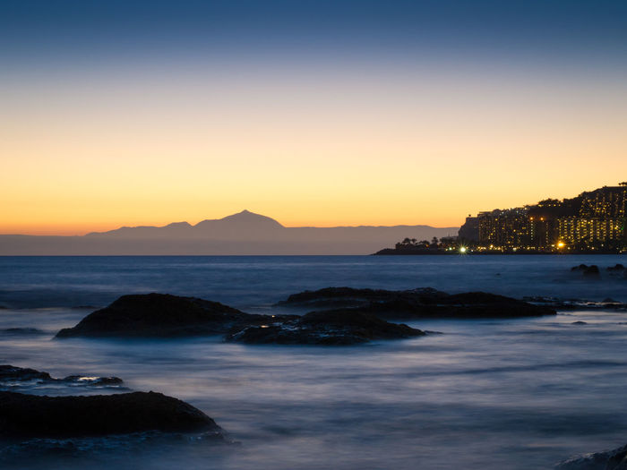 View from Gran Canaria to Tenerife at dusk Arguineguin Atlantic Ocean Canarias Canary Islands Gran Canaria Puerto Rico Silhouette Twilight Dusk Mountain Nature Nightfall Outdoors Seascape Sunset Teide Tenerife Tranquility Volcano