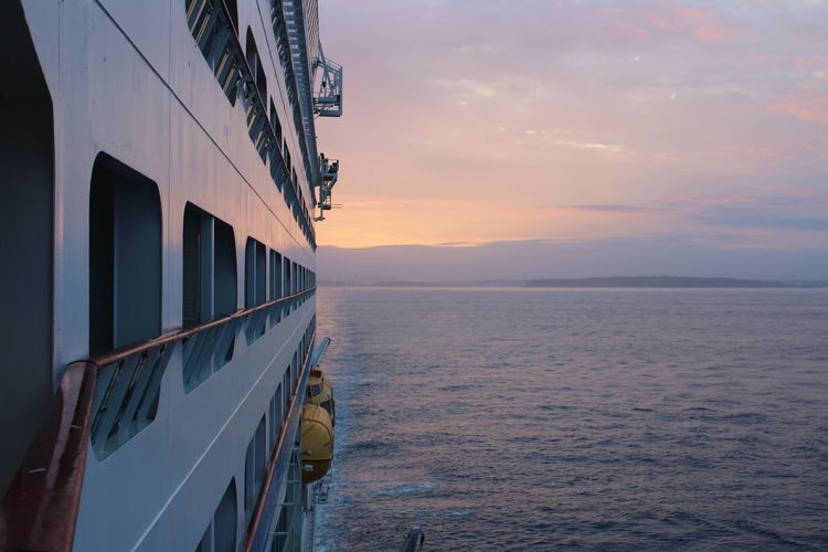 Open sea view. suntset from the window of a cruise ship.