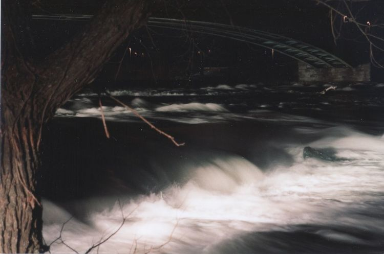 On the edge Bridge Over The River River Rapids Fast Water Flows Motion Night Rushing River Tree Water