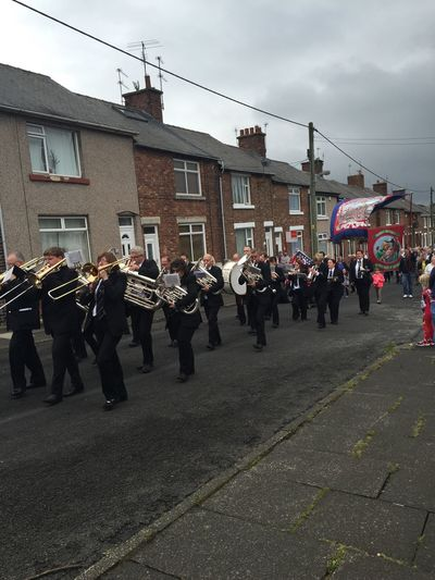 Bowburn Banner Durham Big Meeting Brass Band Durham Miners Gala People Watching