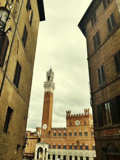 Siena Clock Tower Toscana ıtaly Piazza Del Campo Low Angle View Perspectives On Nature