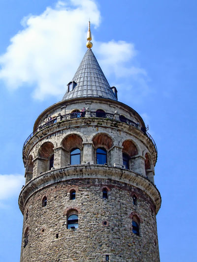 Galata Tower Architecture Blue Built Structure Cloud Cloud - Sky Day Galata Tower Galatakulesi High Section Istanbul Turkey Low Angle View No People Outdoors Sky Tall - High Tourism Tower Travel Destinations