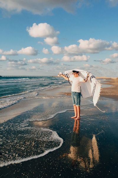 Bar Mitzva Bar Mitzah Boy Sky Cloud - Sky Beach Standing Full Length Sea One Person Rear View Outdoors People Leisure Activity Men Playing Beauty In Nature Jewish Portrait Praying Beachphotography Eye4photography  My Year My View