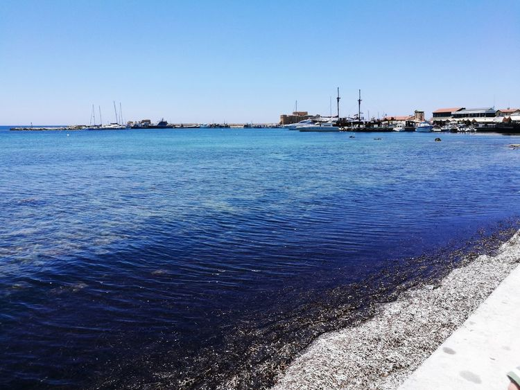 Paphos harbour blues sun sky rocks Outdoors No People Water Clear Sky Scenics City boats holiday walking peaceful waves beauty