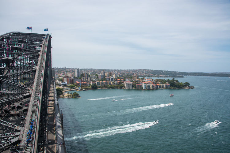High angle view of sydney harbour bridge and cityscape