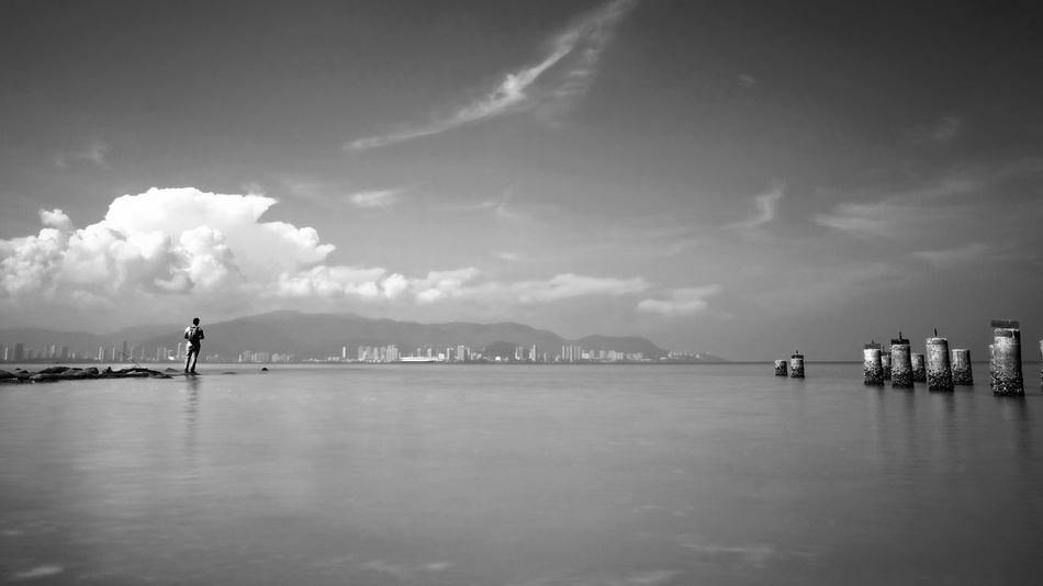 Black & White Beauty In Nature Blackandwhite Cloud - Sky Day Fishing Fishing Time Fuji Xt20 Lifestyles Long Exposure Longexposure Men Mountain Nature One Person Outdoors People Real People Scenics Sea Sky Slow Shutter Water