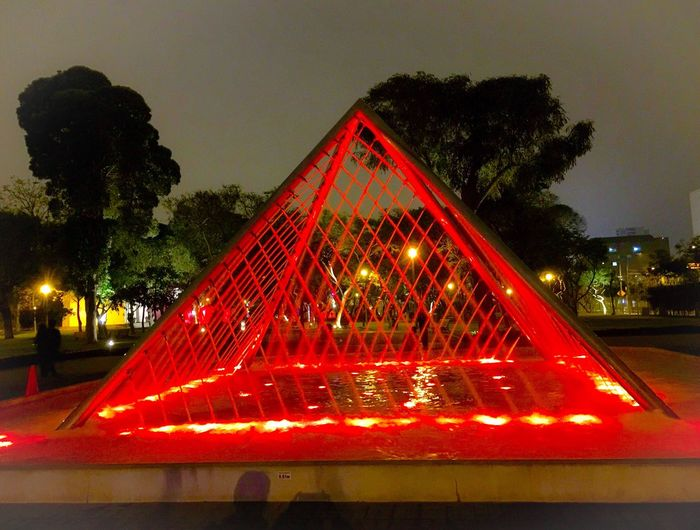 Water Park, Magic Water Show, lights show, the Park of the Reserve, Lima, Peru. Waterpark Magic Water Lights Shows Park Guinness World Record Trees Night Night Life Red Gold Lima Peru 43 Golden Moments Showcase July Colour Of Life