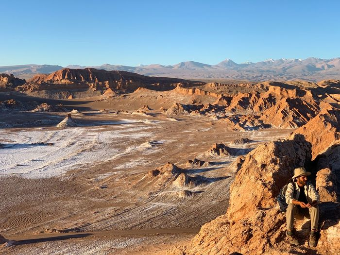 Scenic view of dramatic landscape against clear sky at moon valley atacama desert