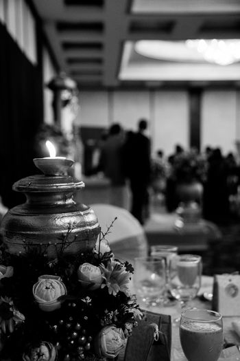 Table setup at a Wedding Abundance Arrangement Candle Flame Close-up Cultures Day Event Focus On Foreground Function Hotel Large Group Of Objects Selective Focus Still Life