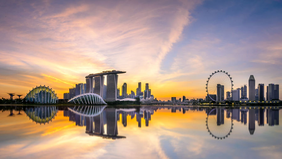 Amazing sunset Cityscape Cloud Marina Bay Sands Nikon Reflection Singapore Flyer Water Reflections Architecture Beauty In Nature Building Exterior Built Structure City Cloud - Sky Day Garden By The Bay Lake Nature No People Outdoors Reflection Sky Skyscraper Sunset Water Waterfront