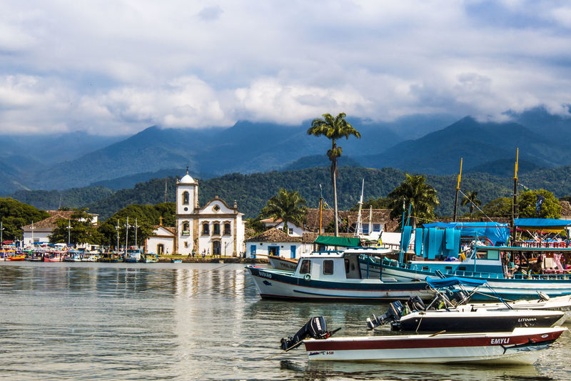 Architecture Boat Boats Nautical Vessel Outdoors Reflection Sky Trip Vacation Water Holiday Mountains And Sea Paraty