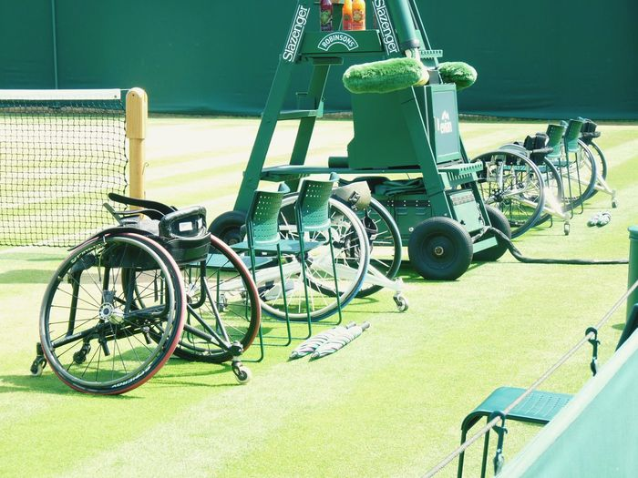 Sports on wheels. Wheelchair Tennis 🎾 Tenniscourt Sport Sports Transportation Mode Of Transportation Stationary Sunlight High Angle View Outdoors Day Nature Shadow