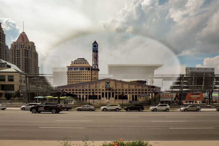 It's amazing what you see, just walking down the street. The other day, I caught a glimpse of a rift in the space-time continuum, showing the Mississauga Civic Centre 20 years ago, before Celebration Square was built (and before those huge jumbotrons blocked the view of the clock tower). Actually, this is a composite of a photo taken in 1996 and superimposed over a photo of the same subject 20 years later (taken by me). The 1996 image is here: http://www.mississauga.ca/portal/residents/citycentregallery?paf_gear_id=13200032&imageId=4100033n&index=128 (photographed by Mr Bert Hoferichter, MPA. I asked for his permission to use his image in mine and it was granted). The before shots are here: https://www.eyeem.com/p/91469017 https://www.eyeem.com/p/91469018 1996 Architecture B4after Better Look Twice Canada Coast To Coast Check This Out Civic Center Enjoying Life Exceptional Photographs Eye4photography  EyeEm Best Edits EyeEm Best Shots From My Point Of View Getting Inspired Mississauga Space-Time Continuum Streetphotography Taking Photos The Magic Mission Then And Now  Time Travel Time Warp Time Warp Tunnel Timewarp Walking Around