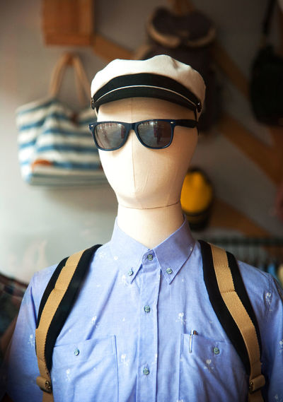 Close-up of mannequin with eyeglasses