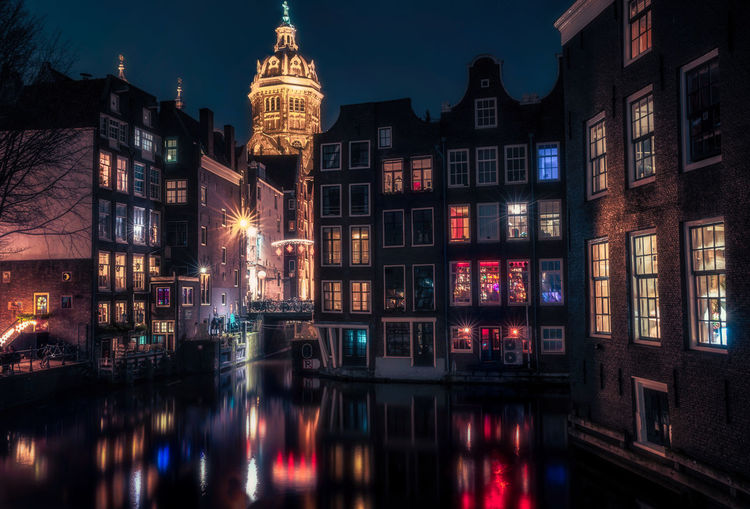 Building Exterior Built Structure Architecture Illuminated Water Building Night Reflection City Waterfront Canal No People Nature Window Residential District Multi Colored Travel Destinations Nautical Vessel Outdoors Amsterdam Dutch Holland Remos Scarfo City Lights Christmas Decoration