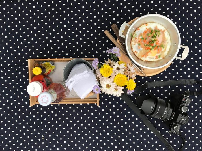 A breakfast Directly Above Flower High Angle View Table Food And Drink Jar Bowl No People Drink Tablecloth Indoors  Healthy Eating Plate Food Freshness Day Brakfast IPhoneography Be. Ready. Decor Outdoors Relax Food Stories Modern Hospitality