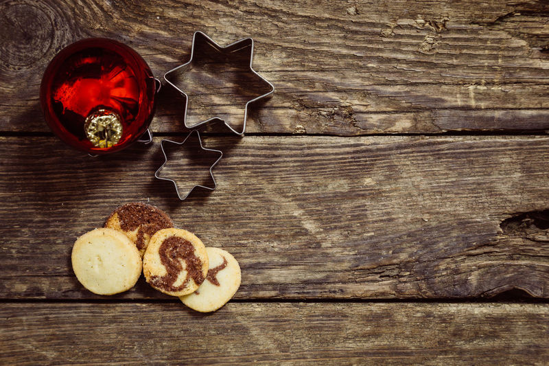 Christmas Baked Close-up Cookie Directly Above Drink Food Food And Drink Freshness Fruit Glass Healthy Eating High Angle View Household Equipment Indoors  No People Refreshment Still Life Table Temptation Wellbeing Wood - Material