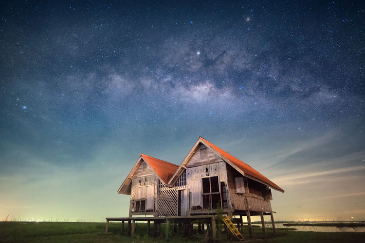 Architecture Astronomy Beauty In Nature Building Exterior Built Structure Constellation Galaxy Milky Way Nature Night No People Outdoors Scenics Sea Sky Star - Space Star Field Starry Tranquil Scene Tranquility Water
