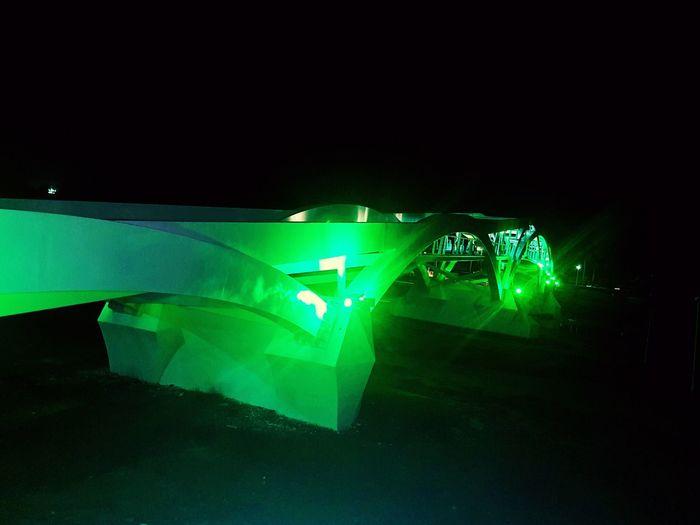 Puente bimodal Culiacan, Sinaloa. No People Puente De Luz Green Color LEDs Night Light In The Darkness