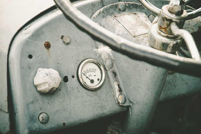 High angle view of steering wheel in vintage tractor