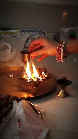 Saraswati Puja Bangals Bengali Culture Traditional Lamp Saraswati Puja Deeya Flame Heat - Temperature Burning Tradition Food Winter Indoors  No People Night EyeEmNewHere The Photojournalist - 2018 EyeEm Awards