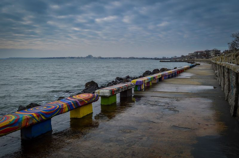 Pomorie Holiday Colors Sky Water Cloud - Sky Nature Sea Scenics - Nature Tranquility Multi Colored Beauty In Nature Beach Tranquil Scene No People Day Sunset Horizon Land Outdoors Horizon Over Water