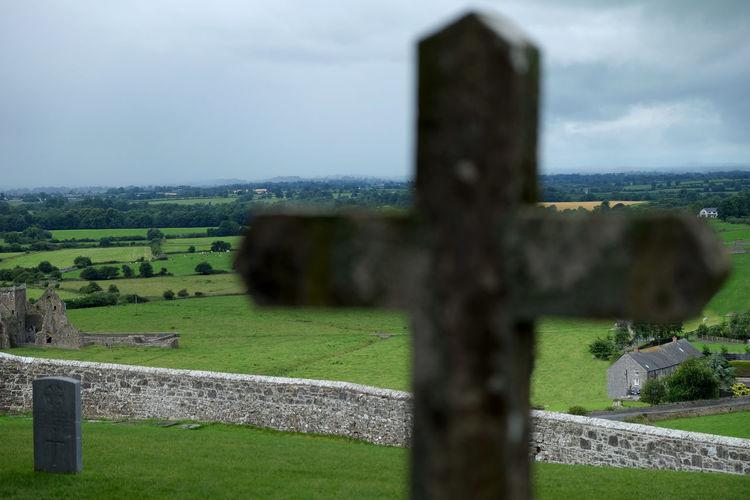 Cross Field Grassy Green Ireland Landscape Rock Of Cashel Stone Wall