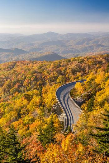 Scenic road, the blue ridge parkway in autumn