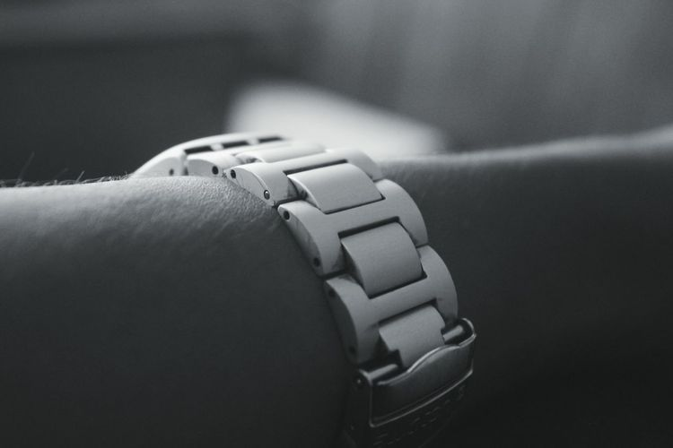 Close-up No People Indoors  Pedal Watch Day Clock Fashion Accessory Man Forearm Wristwatch Wrist Belt  Metal Strap Blackandwhite Black And White Black And White Photography Black Background Black & White Black And White Collection