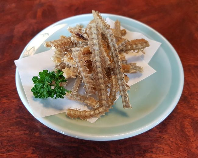 Plate Food No People Table Close-up Ready-to-eat Fish Bone Snack Food Fried Fish Bone