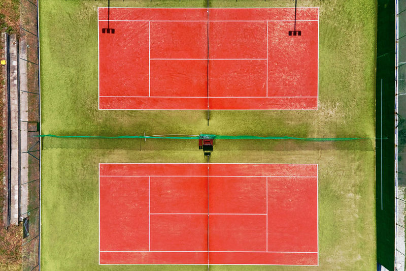Aerial view of two tennis courts