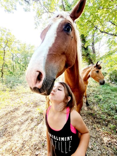 Portrait of young woman with horse on field