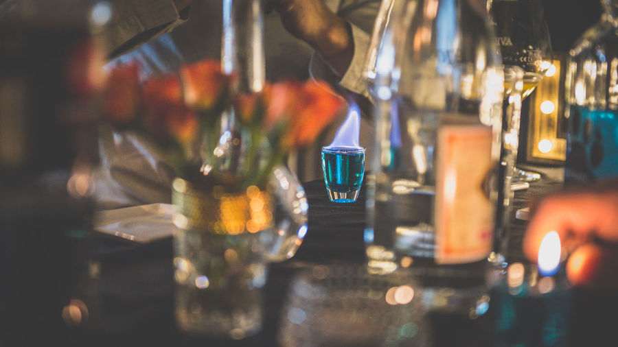 Did someone ordered a blue shot? Blue Drink Candle Close-up Drink Flame Food And Drink FriendsNight Illuminated Indoors  Light Night Mix Yourself A Good Time