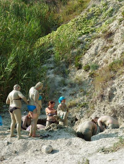 The people taking mud baths from blue clay Outdoor People Beauty In Nature Bath Blue Clay Summer Mud Bath Muddy Waters Landscape Nature Scenics Large Group Of People Party - Social Event