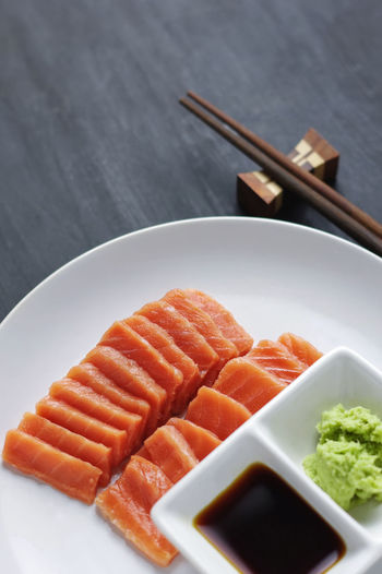 Salmon sashimi with sauce and wasabi Breakfast Chopsticks Close-up Focus On Foreground Food Freshness Indulgence Meal No People Plate Raw Fish Raw Food Raw Food Photography Raw Fresh Seafood Ready-to-eat Salmon Salmon Sashimi Seafood Selective Focus Served Serving Size Soy Saouce Still Life Temptation Wasabi