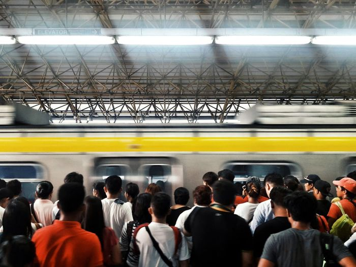 Large Group Of People Crowd Train - Vehicle Rush Hour Blurred Motion Public Transportation Urban City Eyeem Philippines Street Photography Commuter People Metro The Week On EyeEm Mobility In Mega Cities A New Perspective On Life