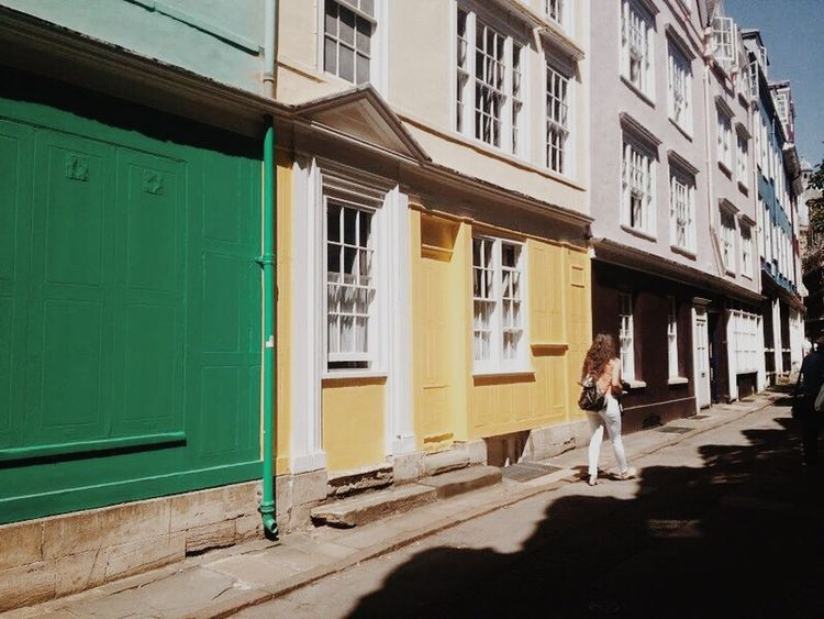 Colors Colorful Colorful Houses Girl England🇬🇧 England, UK Anglo Building Exterior Building Fashion Weekend Yellow House  Green House