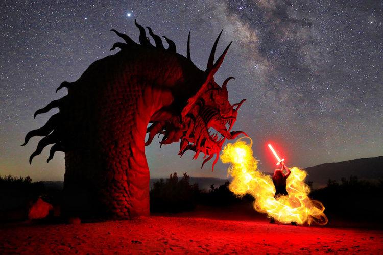 Bonfire against sky at night